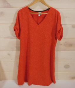 Sahalie-Dress-Women-039-s-Plus-Size-1X-Orange-Short-Sleeved-Tapestry-Tabbed-Sleeves
