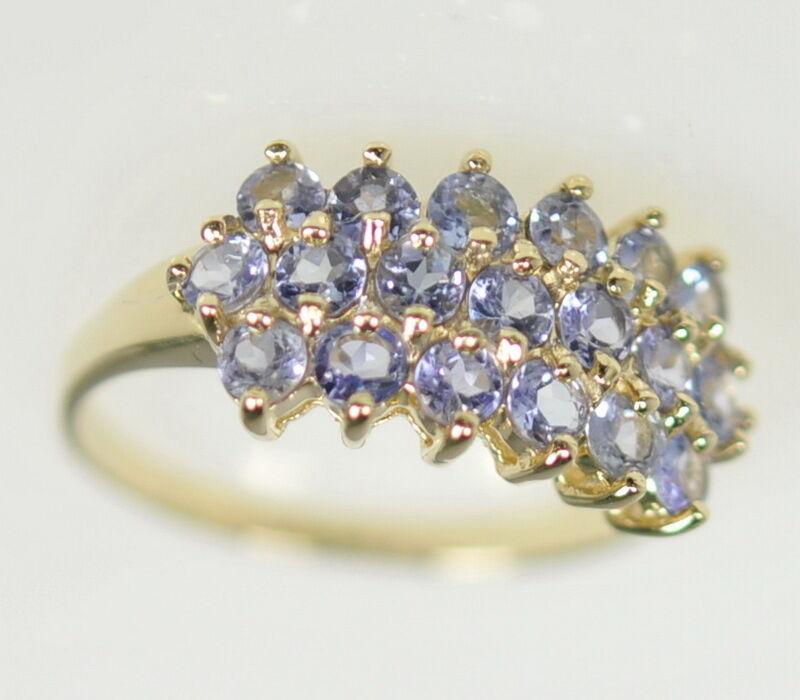 Ladies 14k Yellow gold Pale Tanzanite Gemstone Cluster Estate Ring
