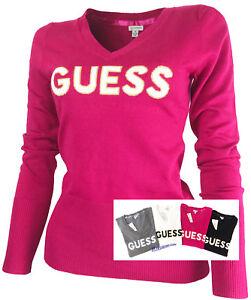 9ace9488ee2d GUESS Damen Pullover V-Ausschnitt Feinstrick 4 Farben mit Motiv ...