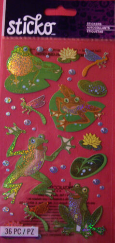 NEW 36 pc FROGGY Frog Lilypads Lilypad Frogs Dragonfly Holograph Stickers STICKO
