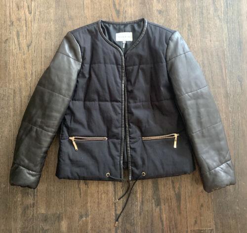 SANDRO Black Puffer Jacket Leather Sleeves Size 38
