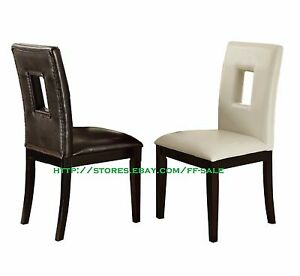 Details About Set Of 2 Parson Styled Faux Leather Wood Dining Side Chair Cream Espresso