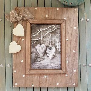SHABBY-Wooden-Chic-Freestanding-Photo-Frame-Heart-Polka-Dot-Design