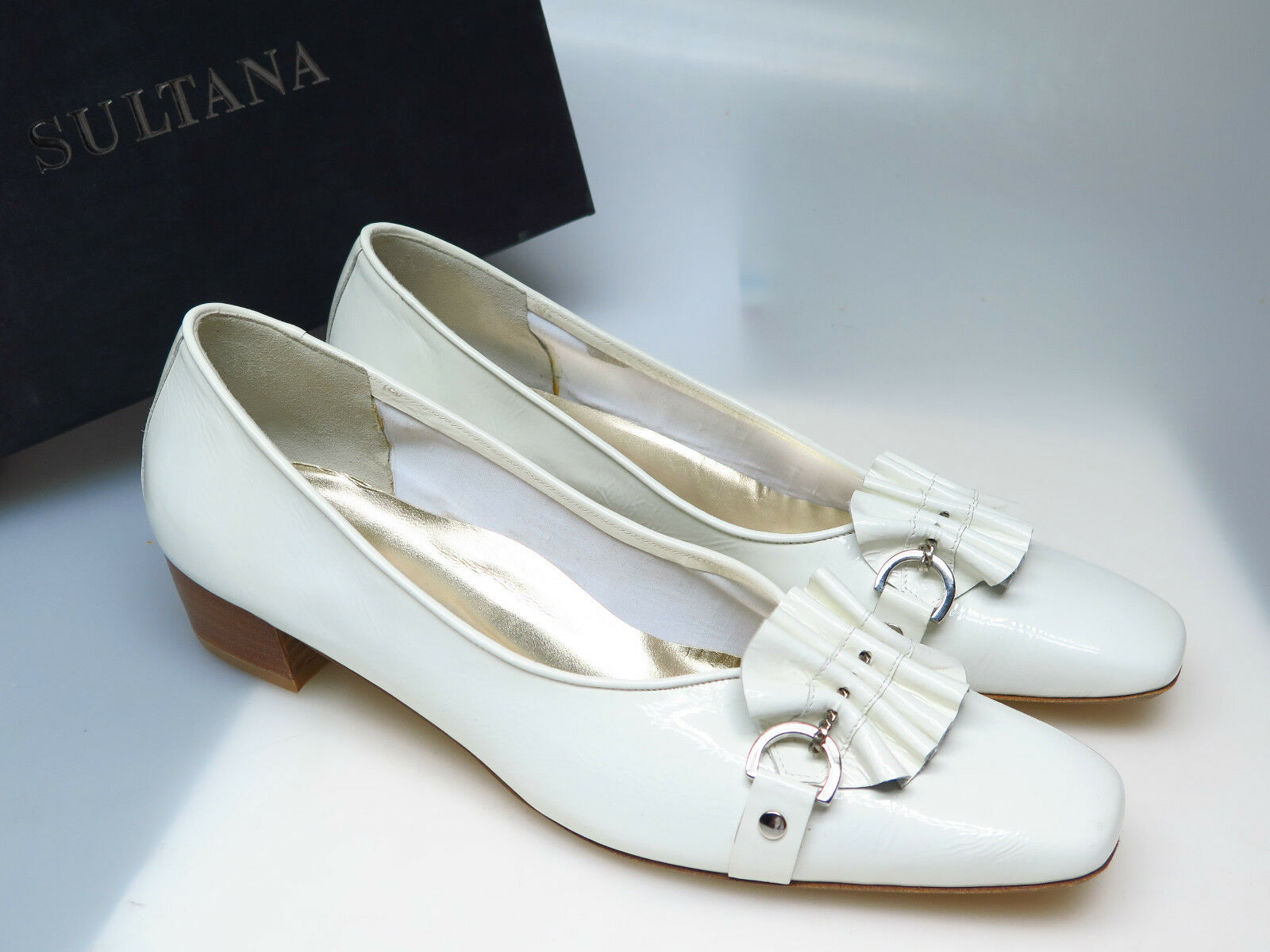 SULTANA Schuhe Designer Damenschuhe N1917 Lucy Lara Naplak Bianco Gr 41,5 NEU