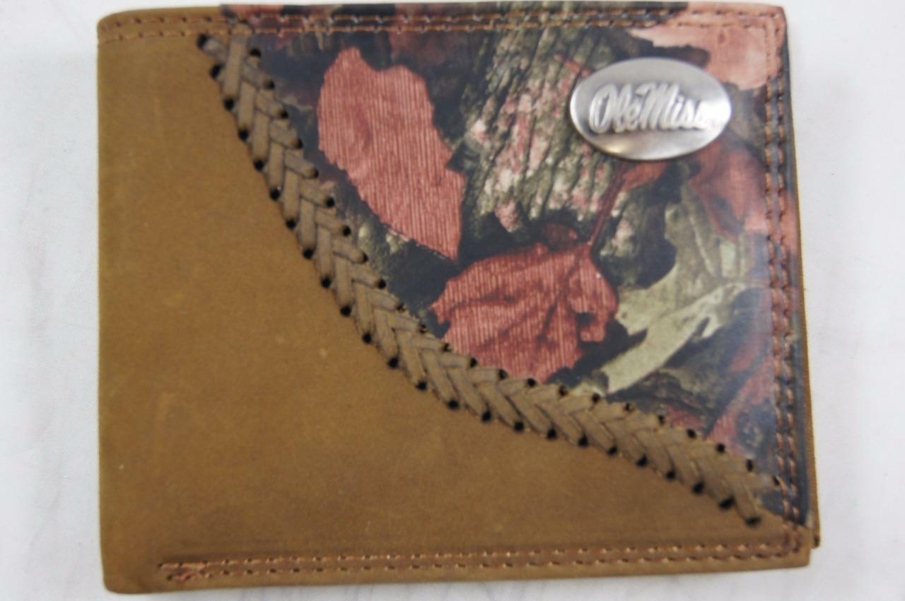 ZEP PRO Ole Miss Rebels Fence Row Camo Leather bifold Wallet Tin Gift Box