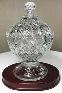 Fenton-Olde-Virginia-Glass-Clear-Glass-Covered-Footed-Candy-Dish-Vintage-MINT