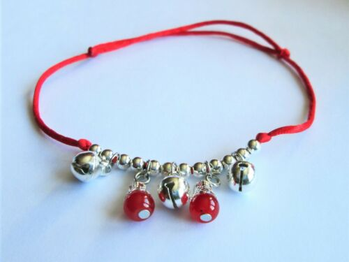 LUCKY RED CORD BELLS AND BEADS ANKLE BRACELET ADJUSTABLE  /& PRETTY GIFT BAG