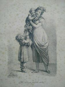 Rare gravure Léopold Boilly La bonne petite soeur estampe XIXème signée