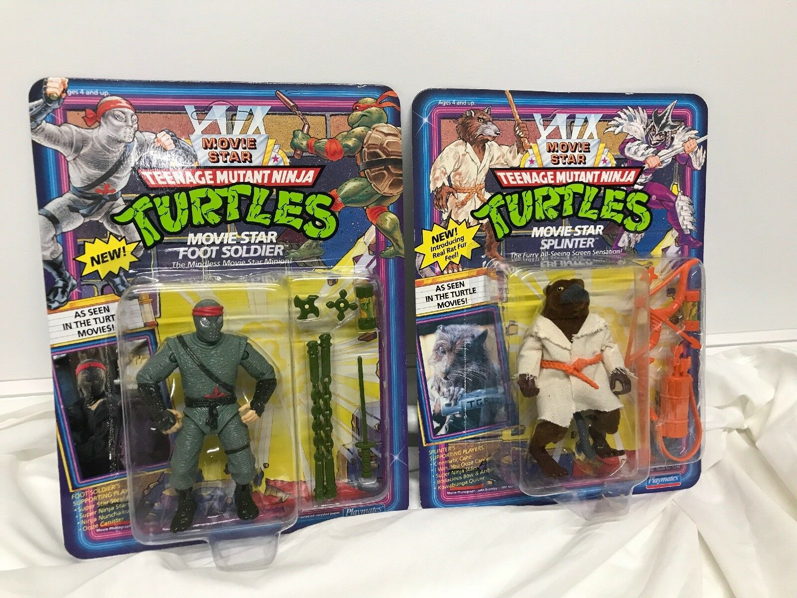 Vintage Playmates 1992 Movie Star TMNT Foot Soldier & Splinter Playmates