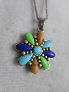 SOUTHWESTERN-SIGNED-C-925-STERLING-GEMSTONE-FLOWER-PENDANT-amp-20-034-CHAIN-NECKLACE