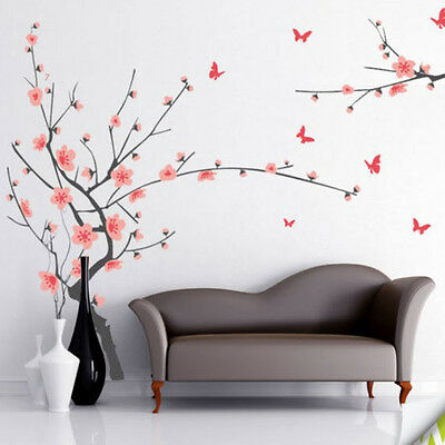 7138 | Wall Stickers Grey Branch with Pink Flowers