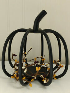 Amish made black wrought iron Pumpkin candle holder ...