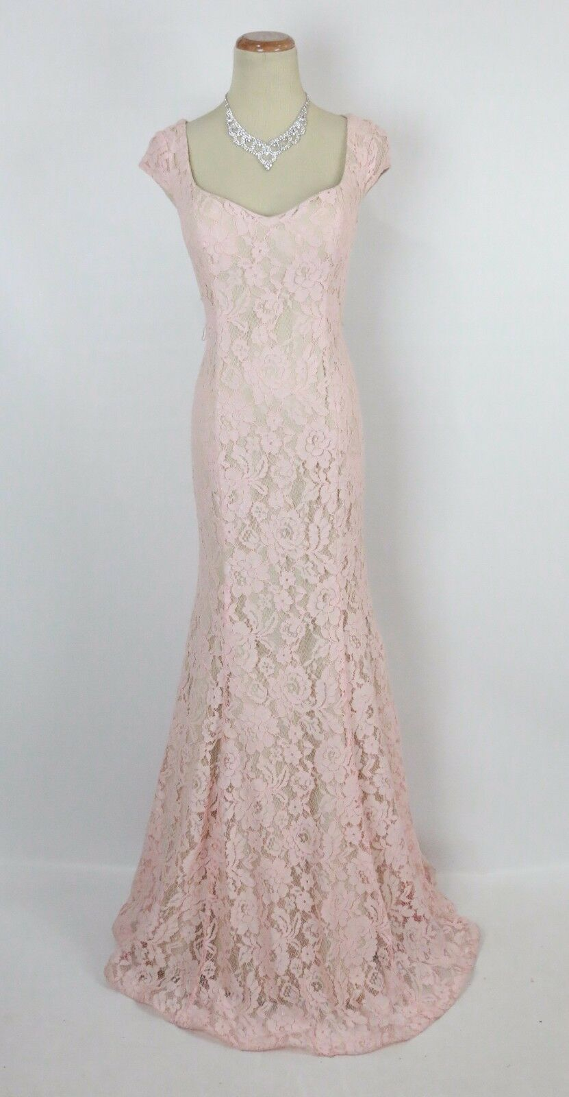NWT Sequin Hearts Prom Formal Cruise Dress SIZE 11 Evening Gown  Lace Pink