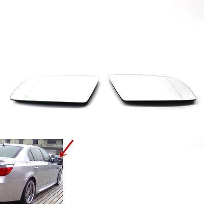 For BMW E60 E61 E63 Heated Mirror Glass Right Left Set 51167065081 51167065082
