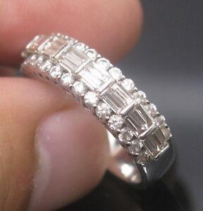 Solid-18K-White-Gold-Natural-VVS-Diamond-Engagement-Wedding-Band-Ring