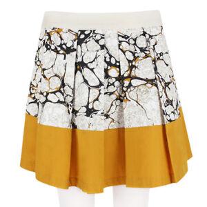 Proenza Schouler Black Dark Amber Marbled Pattern Full Pleated Skirt US6 UK10