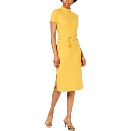 Ultra Flirt Womens Gold Knit Mock Neck Wear to Work Dress Juniors S BHFO 3647
