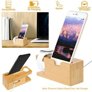 Bamboo Multi-device Organizer Phone & Watch Stand Holder Charging Station Dock