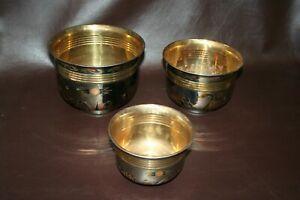 Set-of-3-Modern-5-8-034-Brass-Nesting-Planter-Bowls-w-Swan-Decor-Images