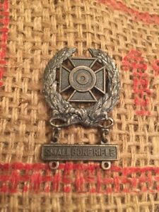 Vtg-US-Military-Pin-Marksmanship-Qualification-Badge-Army-Small-Bore-Sterling