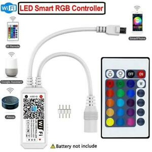 Wifi-Smart-DEL-Strip-Lights-controleur-RVB-APP-telecommande-pour-Alexa-Google