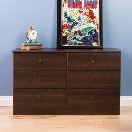 Prepac Astrid 6-Drawer Dresser Espresso Wooden Bedroom Storage EDBR-0402-1 NEW