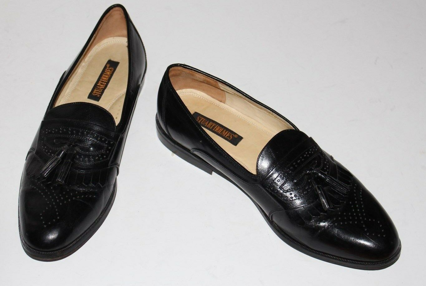 Stuart Holmes 10.5 Black Leather Kiltie Tassel Loafer Leather Soles Lining