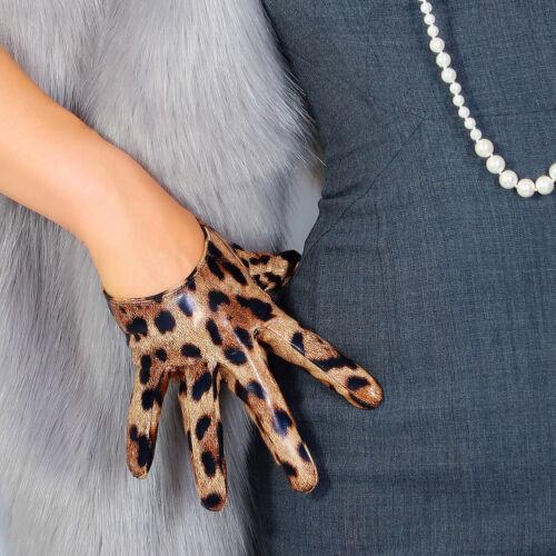 """LATEX LONG GLOVES Faux Shine Patent Leather 28/"""" 70cm Jaguar Leopard Loose Fit"""