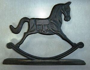 Image Is Loading CAST IRON ROCKING HORSE DOOR STOPPER BEAUTIFUL MSR