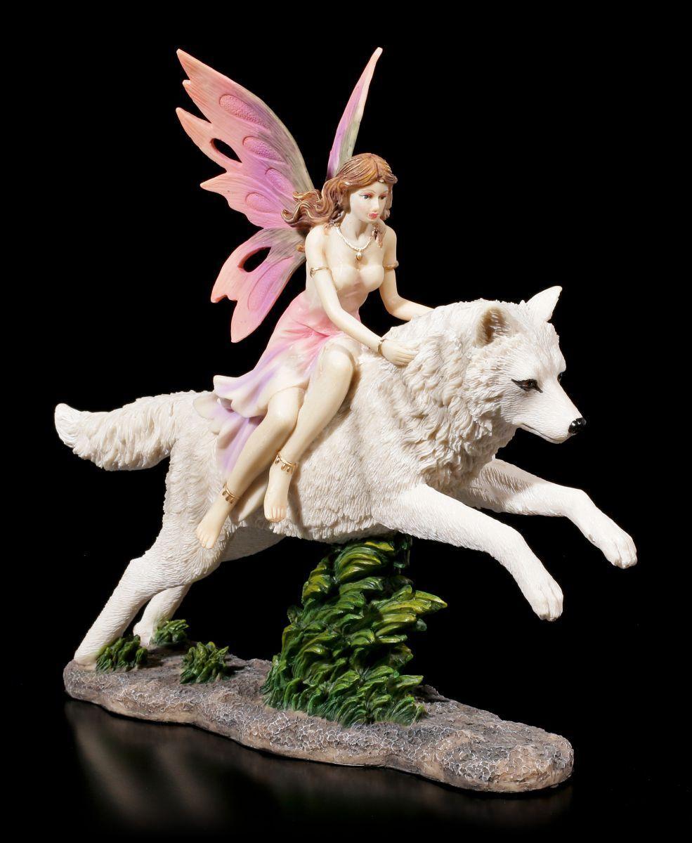 Figura Elfos - Jeora Paseos en sobre Lobo - Fantasy Hada Perro Estatua