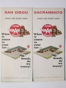 Flying A Tidewater Oil Maps of Sacramento 1965 and San Diego 1965