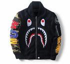 Bape A Bathing Ape SHARK Head Jaw Zipper HOODIE Jacket Camo Baseball Coat