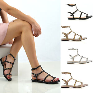 Womens-Studded-Flat-Strappy-Sandals-Ladies-Gladiator-Summer-Holiday-Shoes-Size