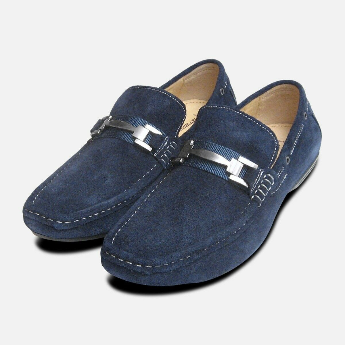 Designer Navy bluee Suede Loafers by Steptronic Delta shoes