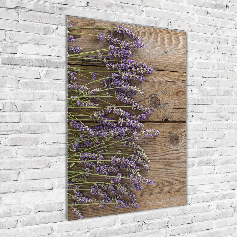 Wand-Bild Kunstdruck aus Hart-Glas Hochformat 70x100 Lavendel auf Holz