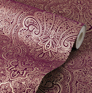 Image Is Loading Exclusive Henna Velvet Flock Purple Gold Damask Wallpaper