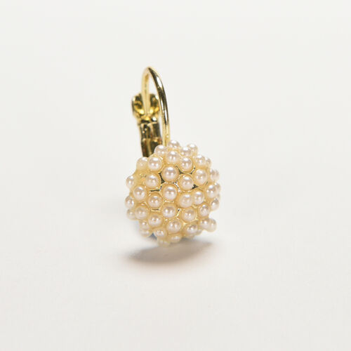 Las mujeres elegantes perlas brazalete de oreja Perlas Aretes de oro plate*ws