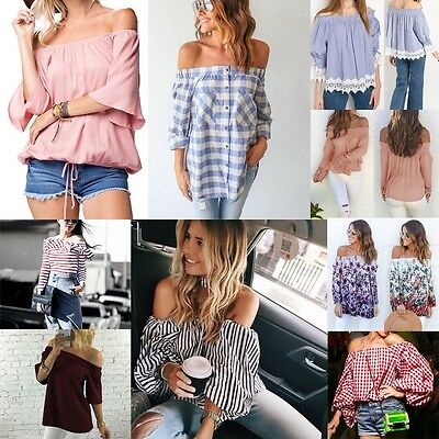 Off The Shoulder Women Loose Tops Blouse Hot Summer Hoilday Casual Sexy T-Shirt