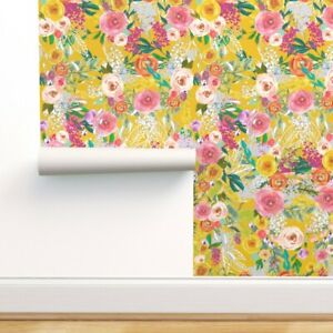 Peel-and-Stick Removable Wallpaper Autumn Blooms Colorful Chalkboard Floral
