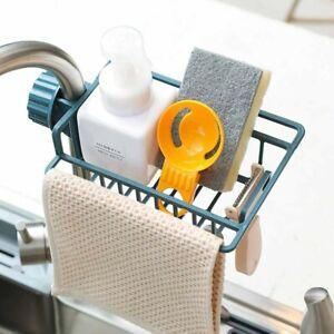 Kitchen-Sink-Faucet-Sponge-Soap-Cloth-Drying-Rack-Storage-Organizer-Holder-Shelf