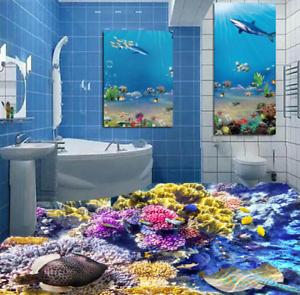 3D colorful  Corals 5 Floor WallPaper Murals Wall Print 5D AJ WALLPAPER UK Lemon