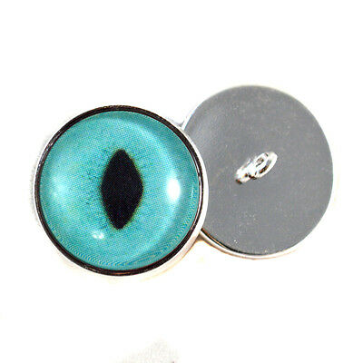 Turquoise Cat Sew On Glass Eyes 16mm Button Loops for Fabric and Crochet Dolls