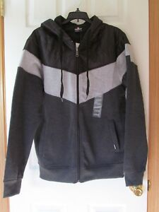 f1d5b71cc0 NWT Men s SOUTHPOLE QUILTED BLACK   GREY FULL ZIP HOODIE JACKET Size ...