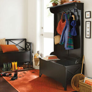 Details About Entryway Black Full Storage Bench Hall Tree Home Living Room Furniture Mudroom
