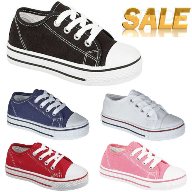 KIDS NEW UNISEX CHILDRENS KIDS FLAT CASUAL LACE UP PUMP PLIMSOLL CANVAS SHOES