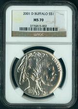 2001 D Buffalo Commemorative Silver Dollar Coin NGC MS 70 Ms70