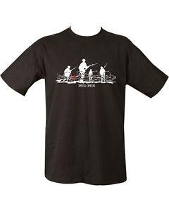 WWI-World-War-1-Poppy-Military-Black-T-Shirt-Army-1914-1918