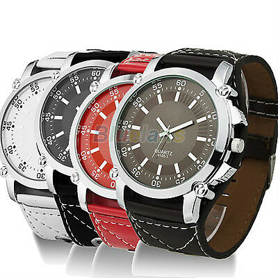 Men's Fashion Faux Leather Band Big Round Dial Quartz Business Wrist Watch Gift