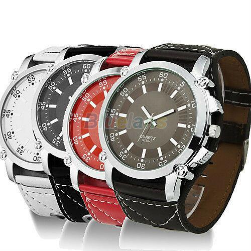 New Fashion Leather Oversized Men Quartz Hands Wrist Watch
