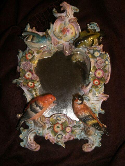 Antique  Mirror  porcelain bird  figurine  Sitzendorf German Thuringia 19th c,